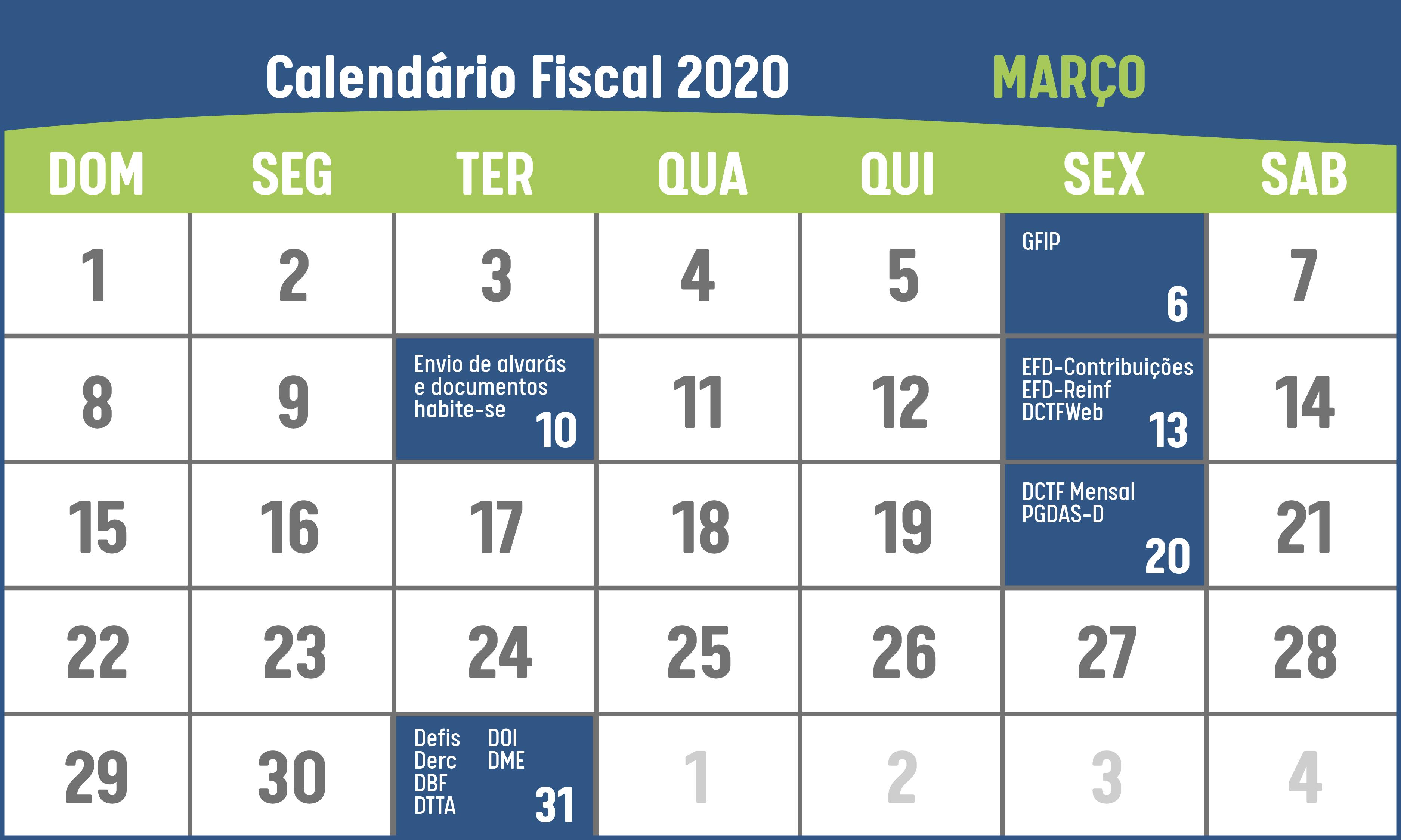 calendário fiscal março 2020