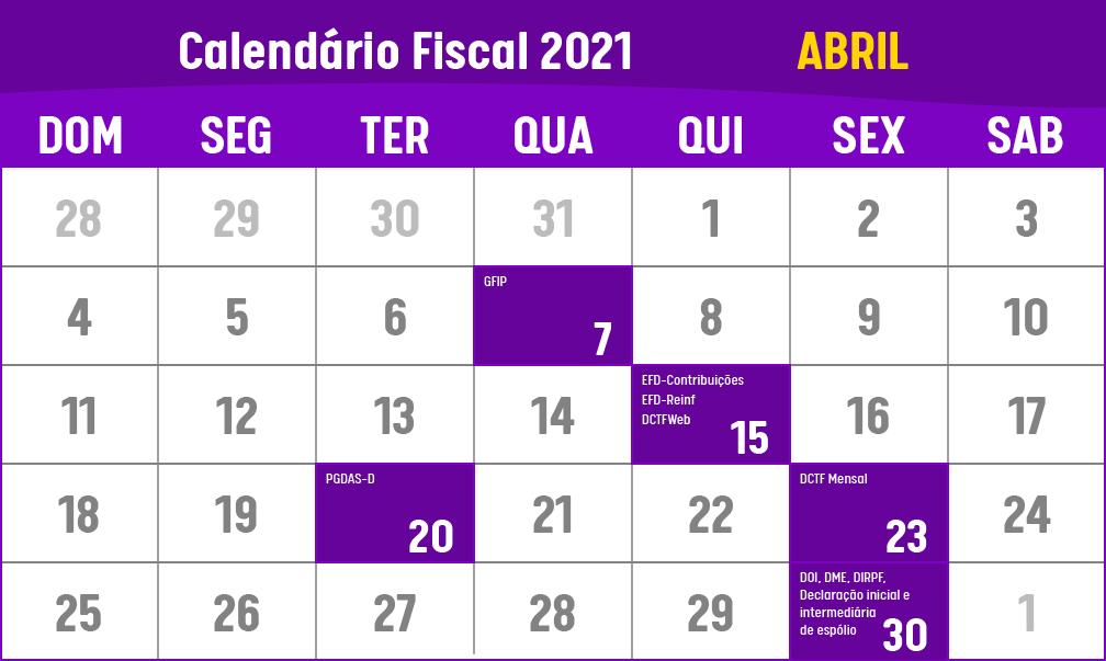 calendario fiscal de abril de 2021