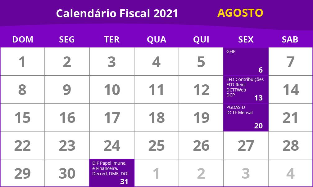 calendário fiscal de agosto de 2021, com as obrigações federais