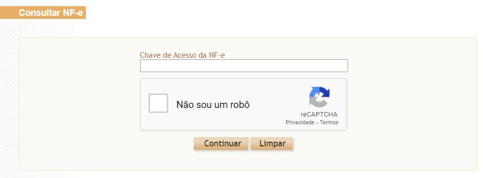 Tela de consulta do Portal da NF-e