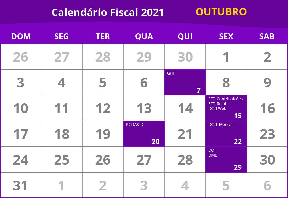 calendário fiscal de outubro de 2021